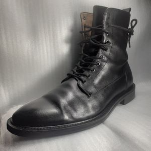 Flawless BLACK💯%Italian Leather Combat-Style Lace up Boot 8.5M/10W CLEAN, BASIC
